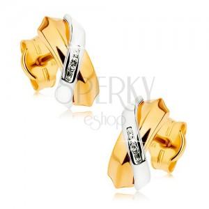 Dvoubarevné náušnice z 9K zlata - prolínající se oblouky, pás drobných zirkonů