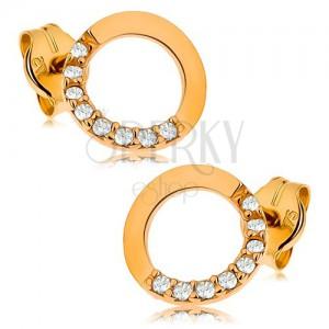 Zlaté náušnice 375 - obrys kruhu s čirou zirkonovou polovinou, 7 mm