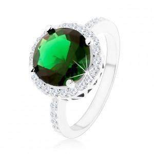 Prsten ze stříbra 925, kulatý smaragdově zelený zirkon, čirý zirkonový lem