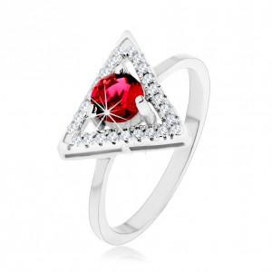 Stříbrný 925 prsten - zirkonový obrys trojúhelníku, kulatý červený zirkon