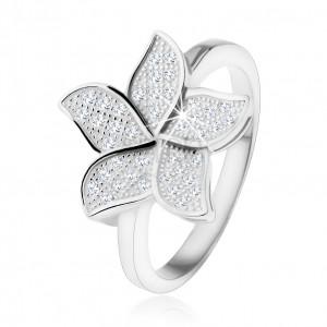 Stříbrný prsten 925, třpytivý zirkonový květ čiré barvy