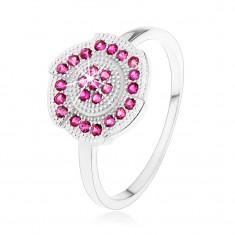 Stříbrný 925 prsten, gravírovaný kvítek zdobený růžovými zirkonky SP54.11