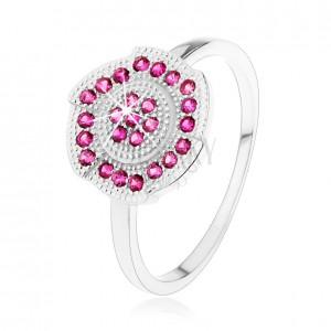 Stříbrný 925 prsten, gravírovaný kvítek zdobený růžovými zirkonky