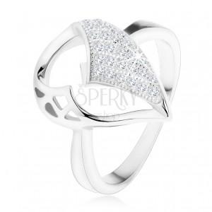 Stříbrný prsten 925, velká slza s asymetrickým výřezem, zirkonová část