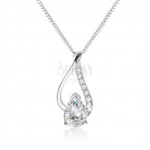 Stříbrný náhrdelník 925, nesouměrná kontura kapky s čirou zirkonovou slzou