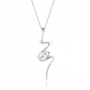 Stříbrný 925 náhrdelník, asymetricky se vlnící stuha, čirý zirkon