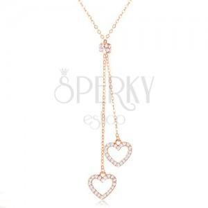 Stříbrný 925 náhrdelník měděné barvy, dvě kontury srdcí na řetízcích