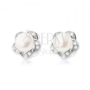 Puzetové náušnice ze stříbra 925, čirý zirkonový květ s bílou perlou