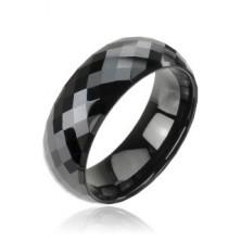 Wolframový prsten černý - vzor disco