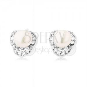 Stříbrné náušnice 925, tři čiré zirkonové obloučky, bílá perla