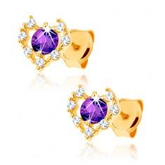 Zlaté náušnice 375 - čirý zirkonový obrys srdce, fialový ametyst GG62.15