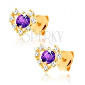 Zlaté náušnice 375 - čirý zirkonový obrys srdce, fialový ametyst