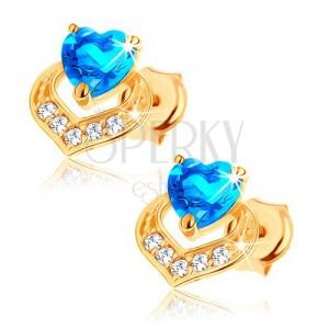 Náušnice v 9K žlutém zlatě - srdíčkový modrý topas, třpytivý obrys srdce