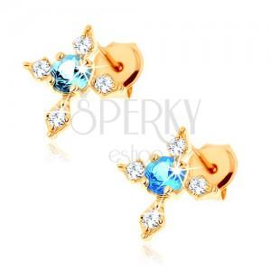 Zlaté puzetové náušnice 375 - kříž se zirkonovými rameny, modrý topas