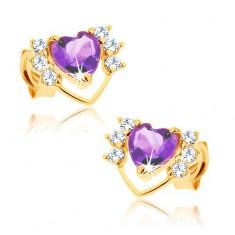 Náušnice ve žlutém 9K zlatě - fialový ametyst, tenká kontura srdce, čiré zirkonky GG61.33