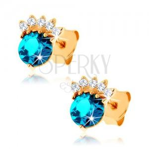 Zlaté náušnice 375 - zirkonová korunka, kulatý topas modré barvy