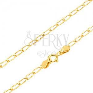 Náramek ze žlutého 14K zlata - lesklá podlouhlá očka s rýhováním, 180 mm