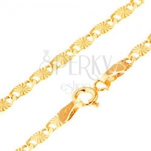 Řetízek ve žlutém 14K zlatě, větší ploché články s paprskovitými rýhami, 500 mm