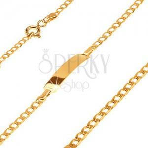 Zlatý 585 náramek s destičkou - blyštivá drobná oválná očka, 160 mm