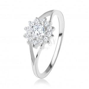 Zásnubní prsten ze stříbra 925, čirý zirkonový kvítek, rozdvojená ramena