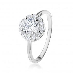 Prsten ze stříbra 925 - kulatý zirkon čiré barvy se třpytivou konturou