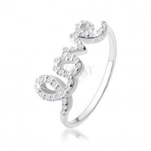 """Stříbrný 925 prsten, nápis """"love"""" vykládaný čirými zirkonky"""