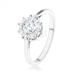 Zásnubní prsten - stříbro 925, trpytivé zirkonové slunce čiré barvy
