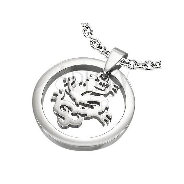 Přívěsek visicí čínský drak v kruhu