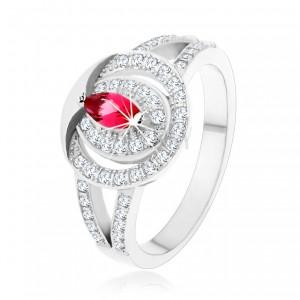 Stříbrný 925 prsten, čirá zirkonová obroučka s růžovým zirkonem