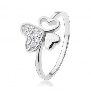 Stříbrný prsten 925, tři různá srdíčka, zirkony čiré barvy