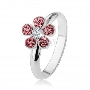 Prsten ze stříbra 925, zářivý kvítek vykládaný růžovými a čirými zirkony