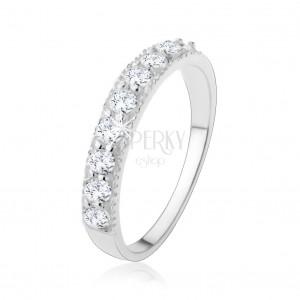 Stříbrný 925 prsten - třpytivá zirkonová linie v čiré barvě