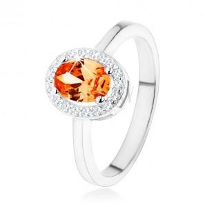 Stříbrný prsten 925, oranžový oválný zirkon, čirý blyštivý lem