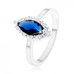 Prsten ze stříbra 925 - tmavomodré zirkonové zrnko, čirá kontura