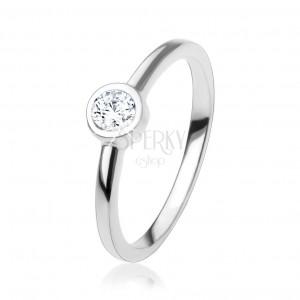 Zásnubní prsten se třpytivým kulatým zirkonem čiré barvy, stříbro 925