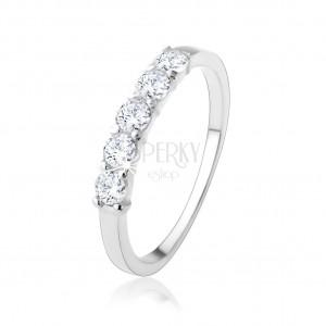Stříbrný zásnubní prsten 925 - pás kulatých čirých zirkonů