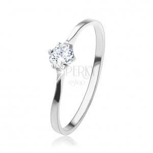 Prsten ze stříbra 925, třpytivý kulatý zirkon v kotlíku