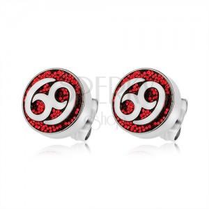 Náušnice z oceli 316L, červený glitrový kruh, znak 69