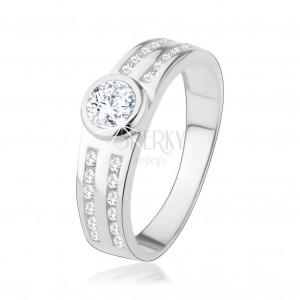 Zásnubní prsten ze stříbra 925, kulatý čirý zirkon, třpytivé linie