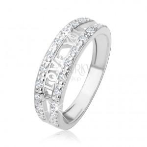 """Stříbrný 925 prsten - nápis """"I LOVE YOU"""", pásy čirých zirkonů"""
