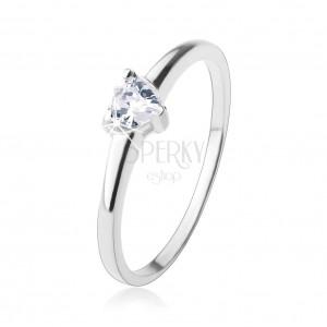 Zásnubní prsten, vybroušené zirkonové srdíčko v čiré barvě, stříbro 925