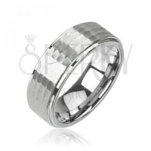 Prsten z wolframu stříbrné barvy, broušený vzor, 8 mm