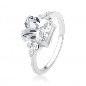 Prsten ze stříbra 925, masivní obdélníkový zirkon čiré barvy