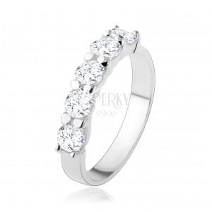 Stříbrný 925 prsten, třpytivá linie z pěti čirých zirkonů