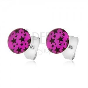Ocelové náušnice, růžová kolečka s potiskem černých hvězdiček