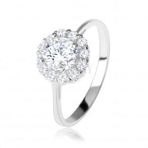 Zásnubní stříbrný 925 prsten, kulatý čirý zirkon, třpytivý lem