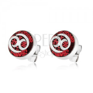 Náušnice z oceli 316L zdobené červenými třpytkami s ornamentem
