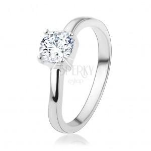 Stříbrný prsten 925 s kulatým čirým zirkonem, jemně zvlněná ramena