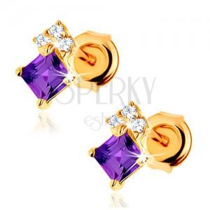 Zlaté náušnice 375 - ametystový čtvereček fialové barvy, zirkony