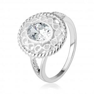 """Stříbrný prsten 925, širší kontura ze symbolů """"infinity"""", oválný čirý zirkon"""